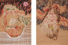 Bilder Serie Objektzeichnungen - 2019 - Acryl, Lack auf Papier 30x20cm