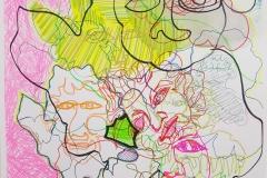 Acryl, Edding, Textmarker und Bleistift auf Papier 100x70