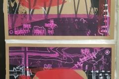 Acryl und Eddning auf Recycling-Papier - Jeweils DIN A4