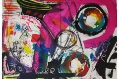 Neonstudie auf Leinwand (Acryl, Gouache und Edding auf Leinwand 120x80)