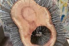 Der Schrei - Holz-Nagel-Plastik 40cm