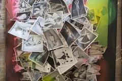 Purpel Spider - Collage mit Spraylack - 40x50cm