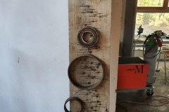 O.T. Holz-/ Stahlplastik 100x30cm