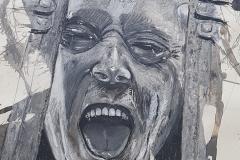 Selbstportrait Graphit, Pittkreide, Tusche, Moorlauge auf Papier 100x70