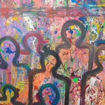Großformatige Malerei 200x300 Thema: Beobachtbare Liebe