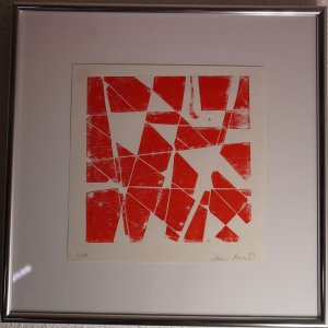 "Holzdruck ""Flatterband"" Edition aus 111 Exemplaren; ca. 21,5×21,5cm (Blatt) inkl. Rahmen ca. 40x40cm; Handsigniert - Dennis Josef Meseg"