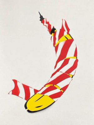 Flatterband-Banane - Zusammenarbeit von Thomas Baumgärtel (Bananensprayer Köln) und Dennis Josef Meseg | Edition aus 111 Pochoir/ Stencils/ Schablonendrucken
