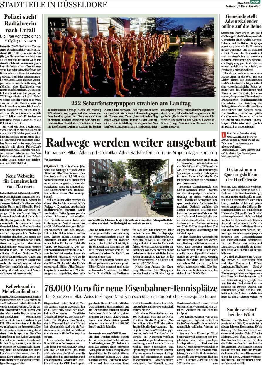 """Installation """"Broken"""" - von Dennis Josef Meseg - Presse NRZ Düsseldorf 02.12.2020"""