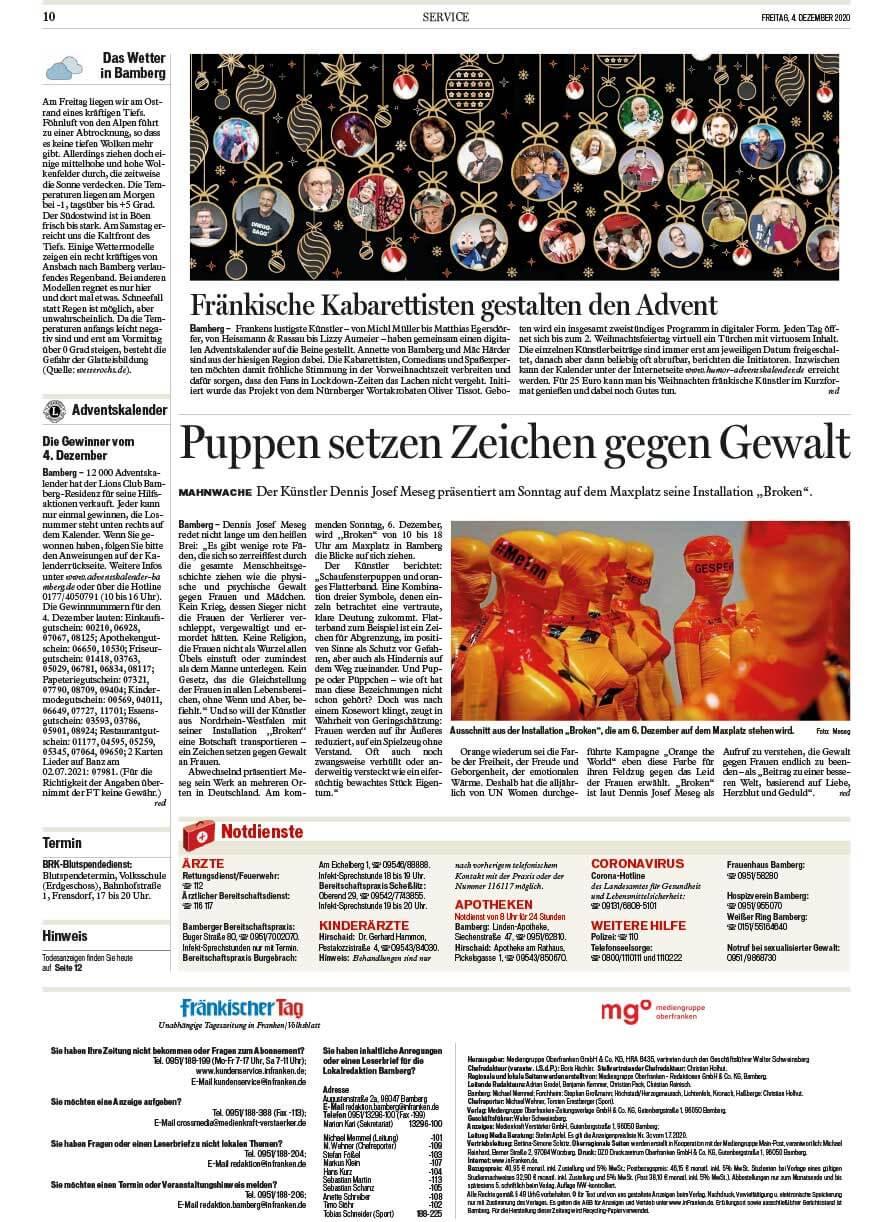 """Installation """"Broken"""" - von Dennis Josef Meseg - Presse Fränkischer Tag Bamberg 04.12.2020"""