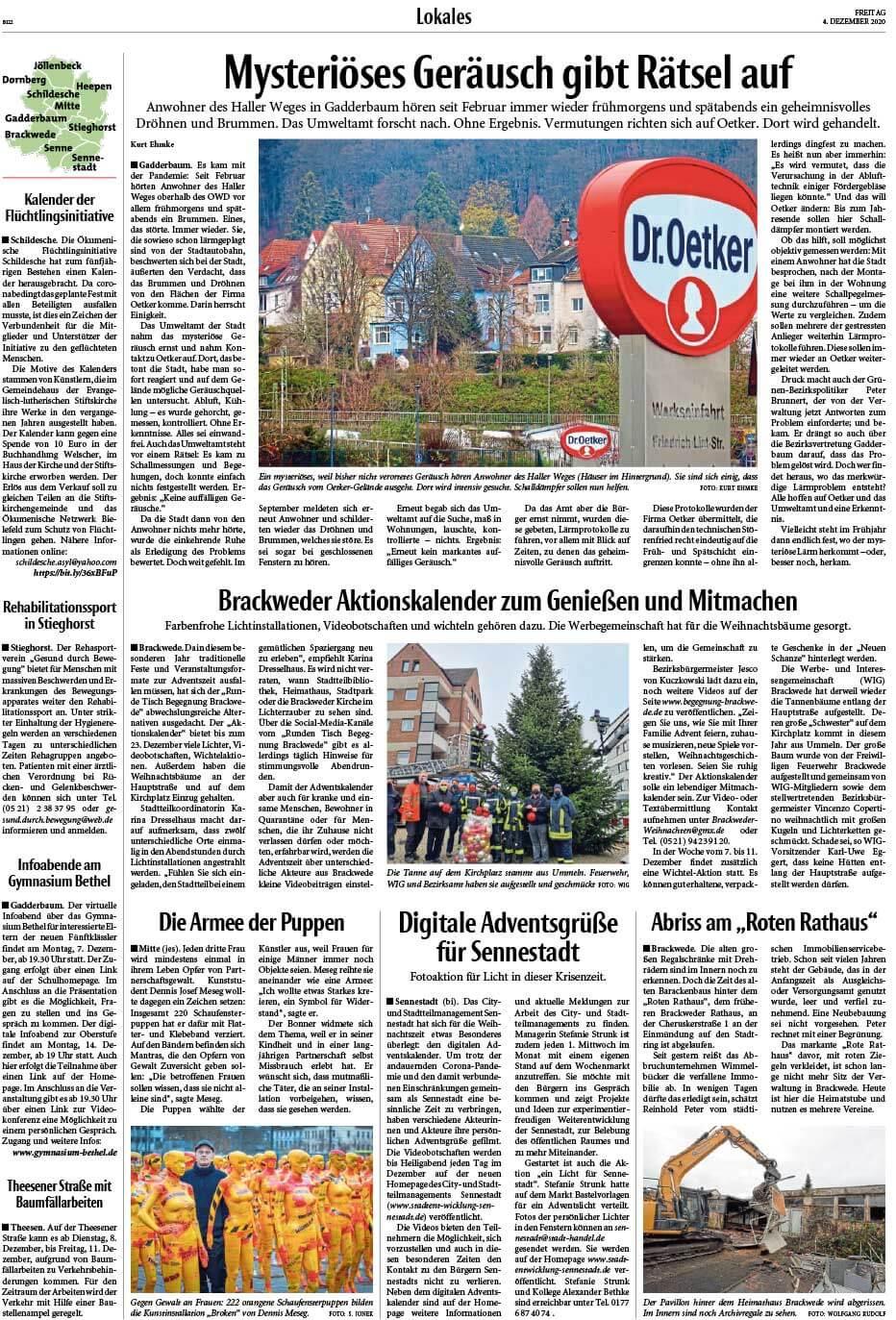 """Installation """"Broken"""" - von Dennis Josef Meseg - Presse Bielefelder Tagesblatt 04.12.2020"""