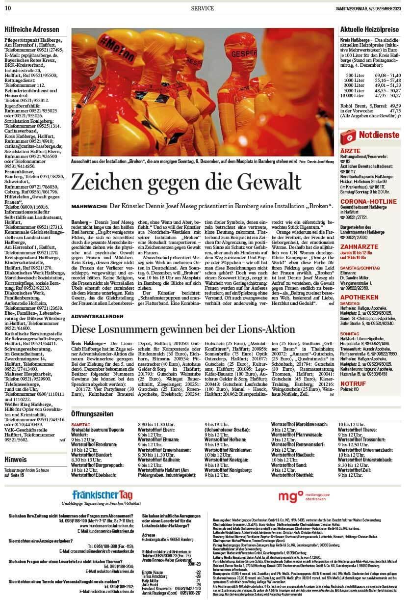 """Installation """"Broken"""" - von Dennis Josef Meseg - Presse Fränkischer Tag 05.12.2020"""