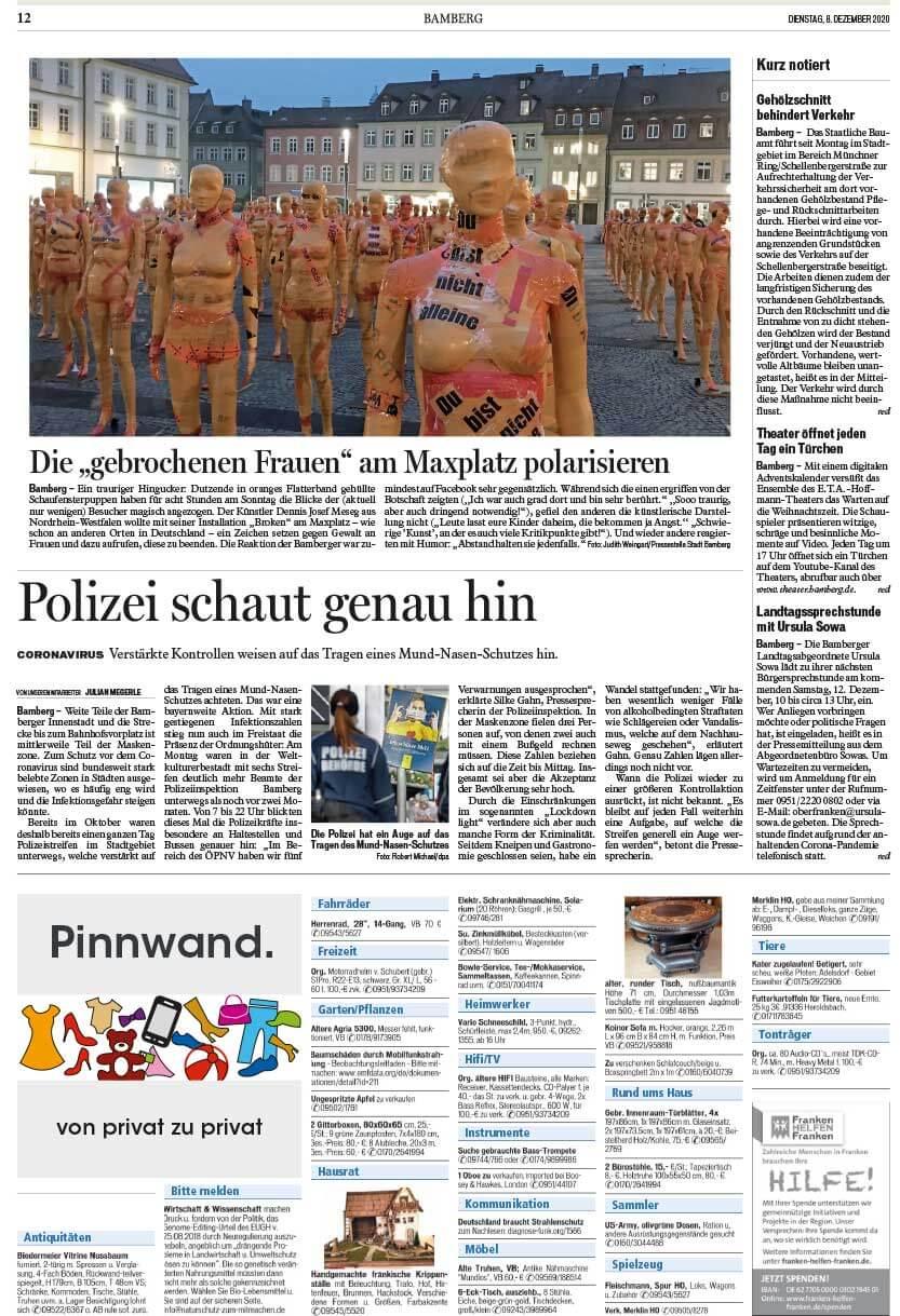 """Installation """"Broken"""" - von Dennis Josef Meseg - Presse Fränkischer Tag Bamberg 08.12.2020"""