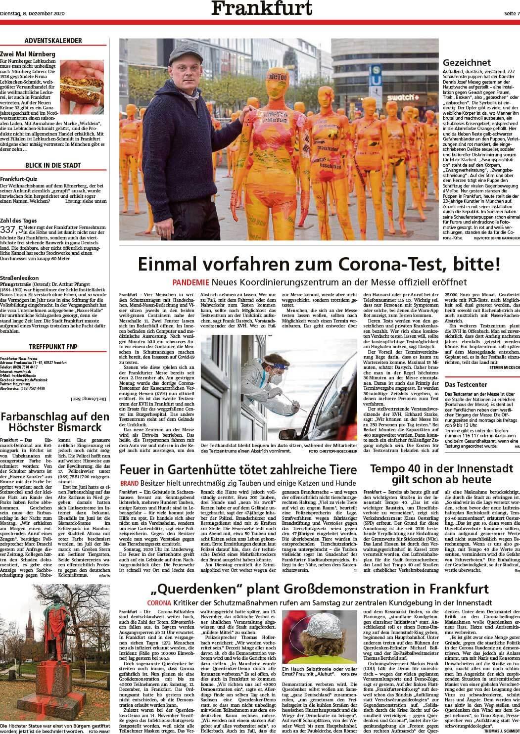 """Installation """"Broken"""" - von Dennis Josef Meseg - Frankfurter Neue Presse 08.12.2020"""