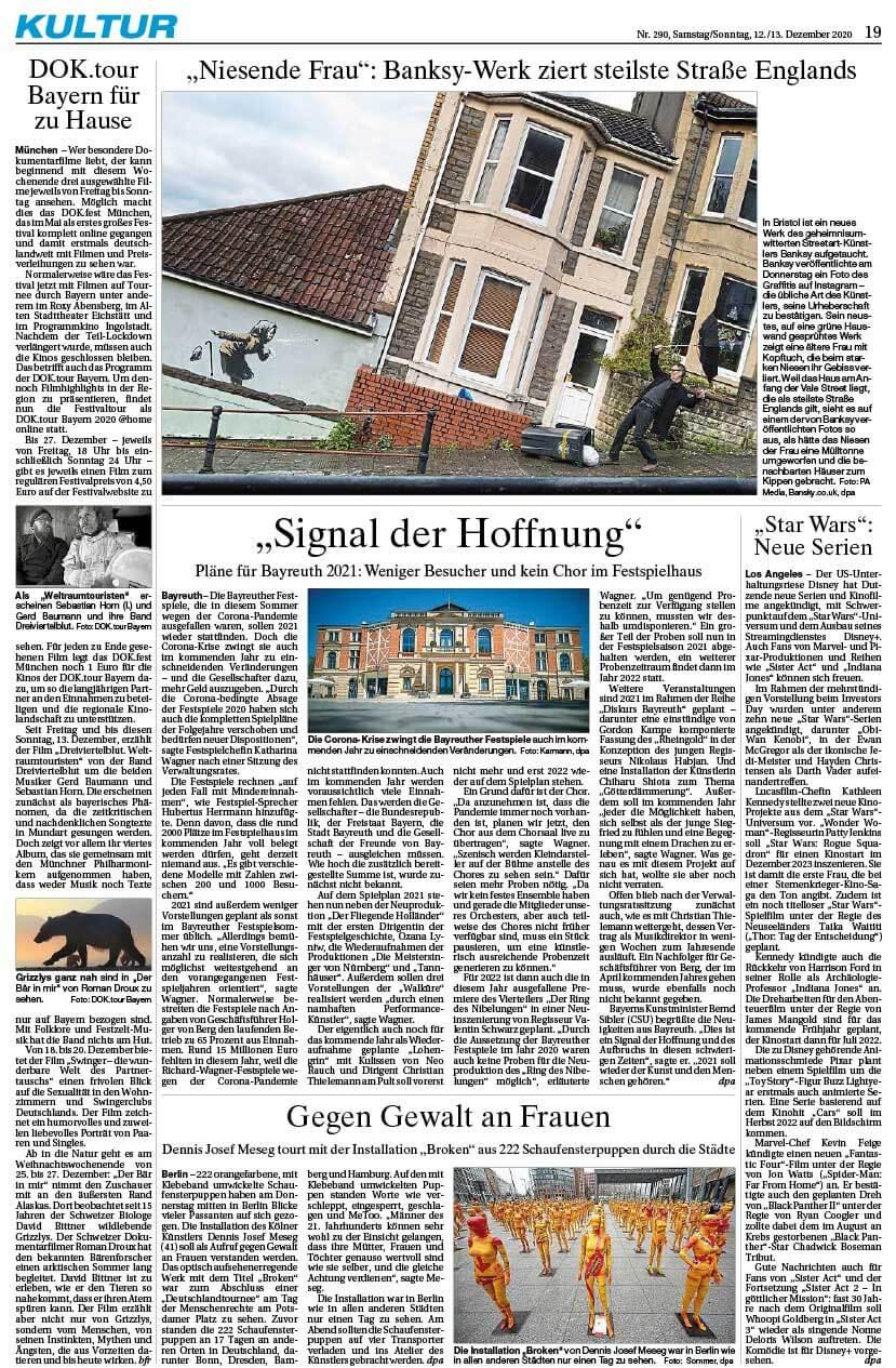 """Installation """"Broken"""" - von Dennis Josef Meseg - Presse Ingolstadt Donaukurier 12.12.2020"""