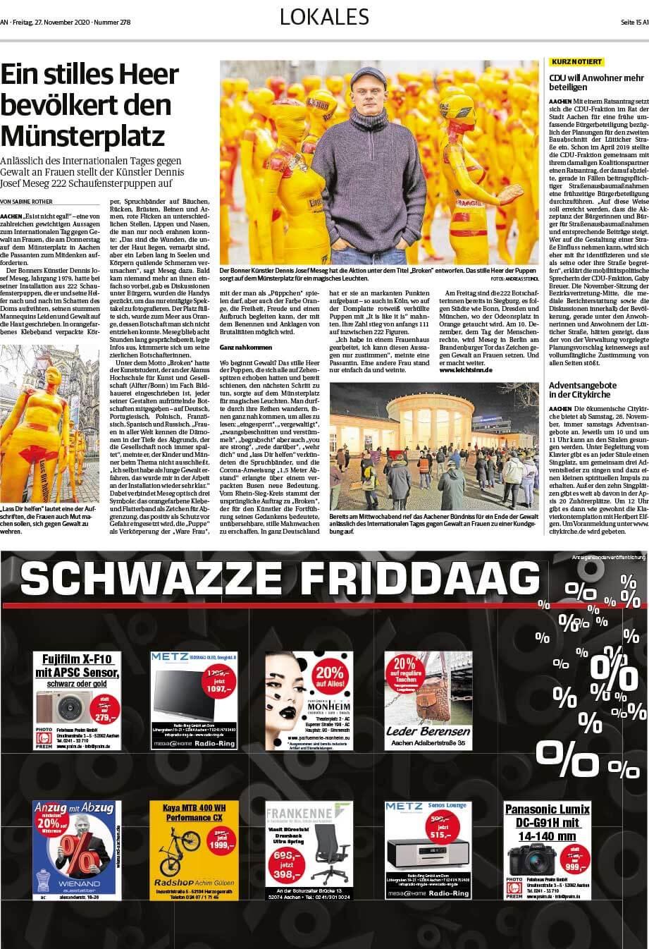 """Installation """"Broken"""" - von Dennis Josef Meseg - Presse Aachen 27.11.2020"""