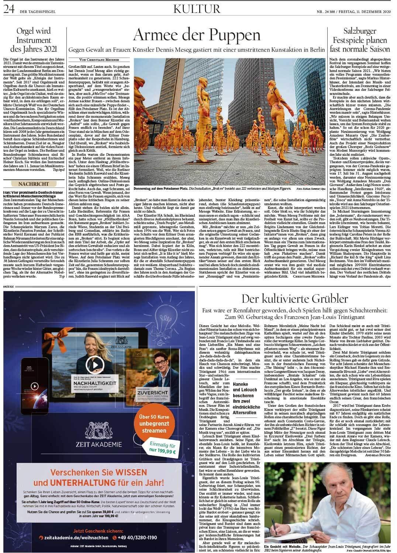 """Installation """"Broken"""" - von Dennis Josef Meseg - Der Tagesspiegel 11.12.2020"""