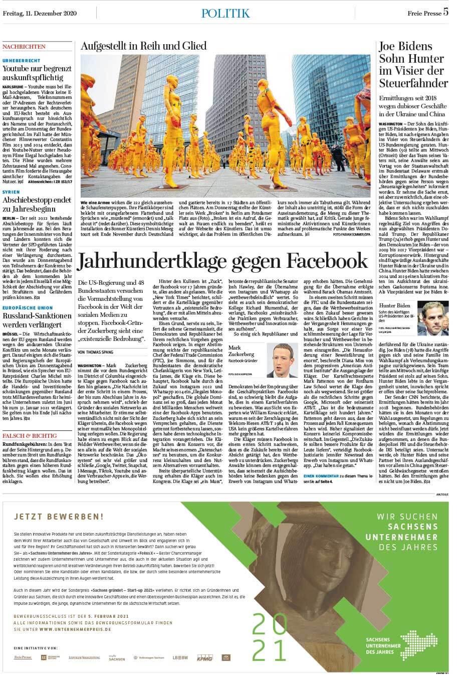 """Installation """"Broken"""" - von Dennis Josef Meseg - Chemnitzer Zeitung 11.12.2020"""
