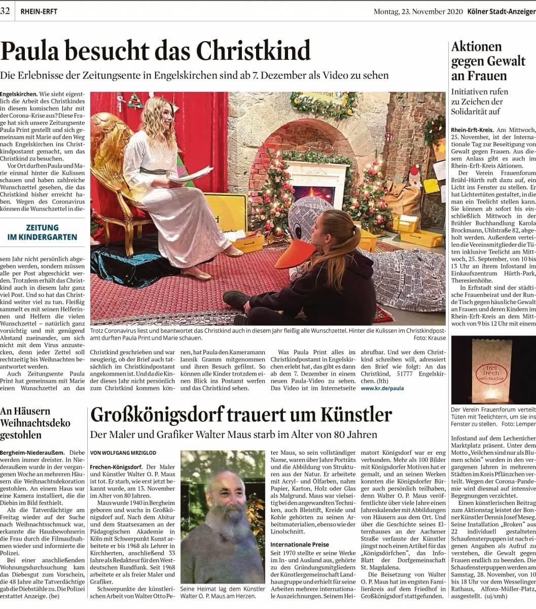 """Installation """"Broken"""" - von Dennis Josef Meseg - Presse Kölner Stadt Anzeiger Land Erftkreis 23.11.2020"""