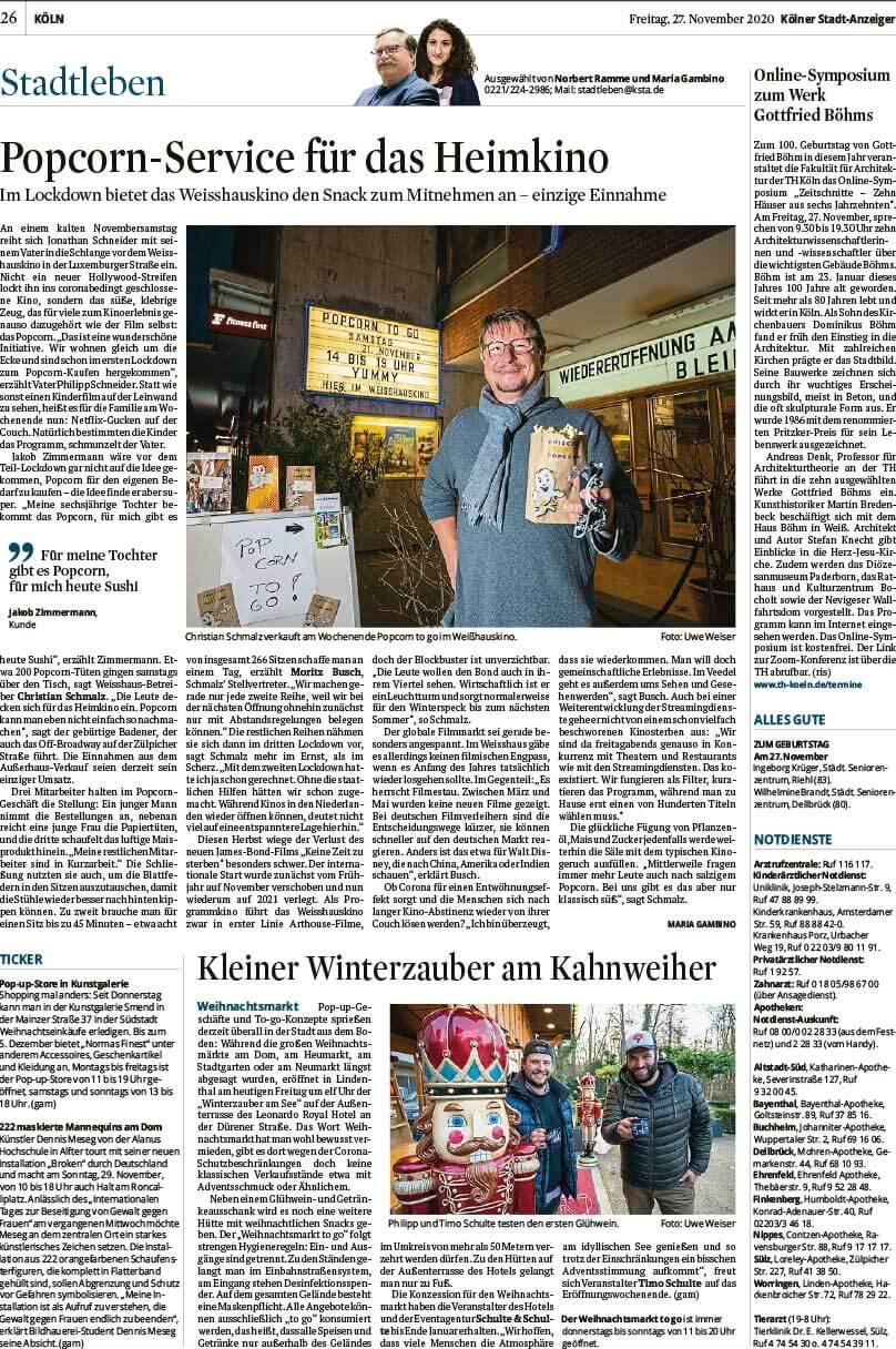 """Installation """"Broken"""" - von Dennis Josef Meseg - Presse Kölner Stadt Anzeiger 27.11.2020"""