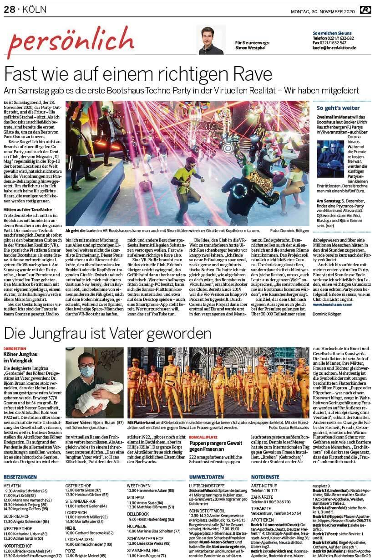 """Installation """"Broken"""" - von Dennis Josef Meseg - Presse Kölnische Rundschau 30.11.2020"""