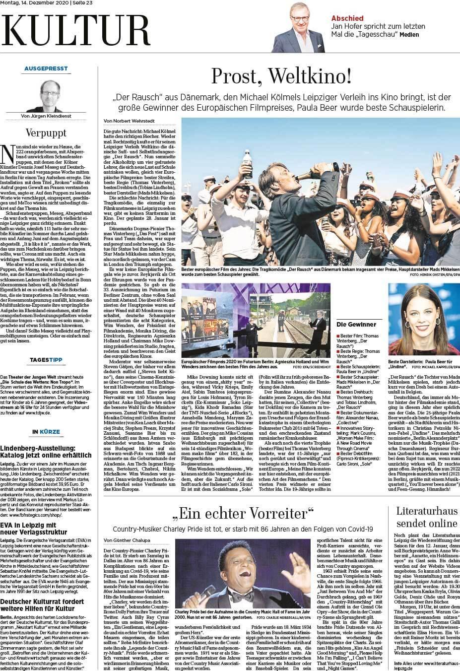 """Installation """"Broken"""" - von Dennis Josef Meseg - Leipziger Volkszeitung 14.12.2020"""