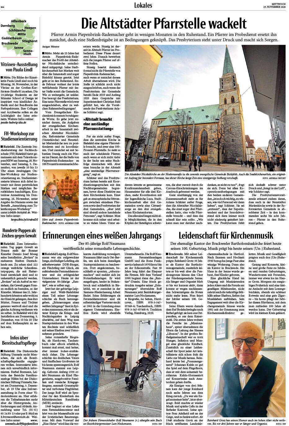"""Installation """"Broken"""" - von Dennis Josef Meseg - Presse Bielefelder Tageblatt 25.11.2020"""