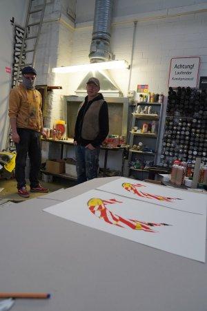 Flatterband-Banane Baumgärtel / Meseg - Limitiertes Stencil - Herstellung