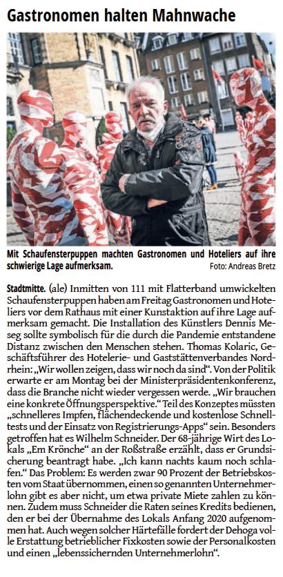 WZ Westdeutsche Zeitung Düsseldorf vom 20.03.2021