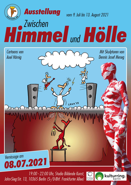 Flyer Plakat Ausstellung Zwischen Himmel und Hölle Cartoons von Axel Hörnig