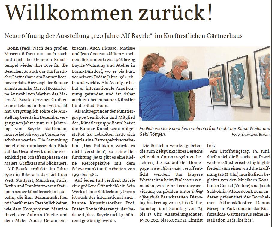 120 Jahre Alf Bayrle Ausstellung Kurfürstliches Gärtnerhaus Bonn